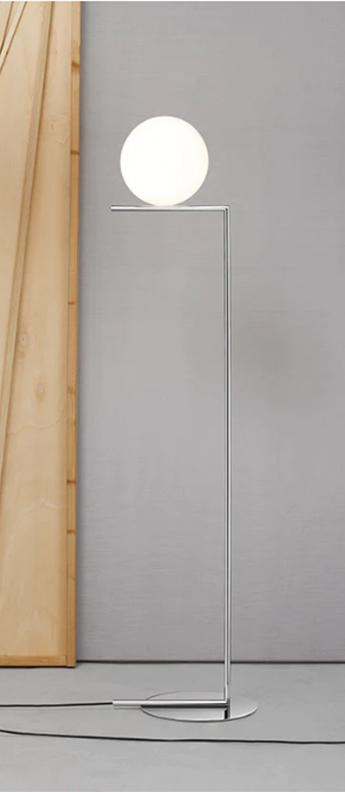 Lampadaire ic lights floor 1 opalin et chrome o27 5cm h135cm flos normal