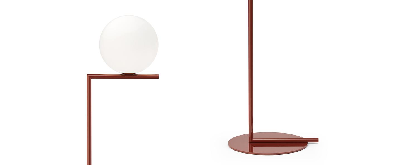 Lampadaire ic lights floor 1 opalin et rouge burgundy o27 5cm h135cm flos normal