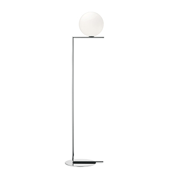 Lampadaire ic lights floor 2 opalin et chrome o38cm h185 2cm flos normal