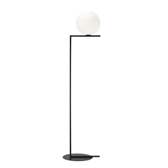 Lampadaire ic lights floor 2 opalin et noir o38cm h185 2cm flos normal
