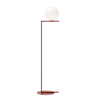 Lampadaire ic lights floor 2 opalin et rouge burgundy o38cm h185 2cm flos normal