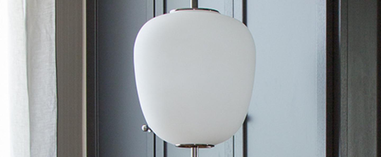 Lampadaire j14 blanc chrome o30cm h165cm disderot normal