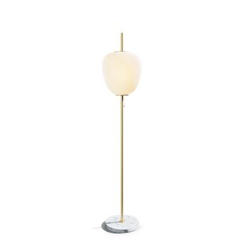 Lampadaire j14 laiton verre opalin o30cm h165cm disderot normal