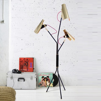 Lampadaire jackson noir et or h180cm delightfull normal