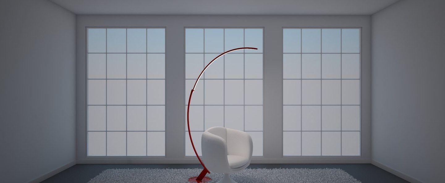 Lampadaire kyudo rouge led l42cm h212cm kundalini normal