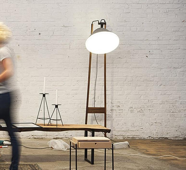 Lampadaire natacha kopec et gary berche lampadaire floor light  kngb kngb floor noyer massif  design signed nedgis 78169 product