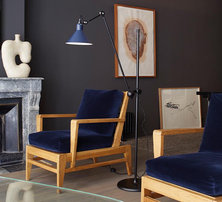 Lampe gras n 215 bernard albin gras lampadaire floor light  dcw n 215 bl blue conic  design signed nedgis 105777 product