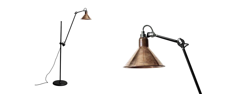 Lampadaire lampe gras n 215 cuivre brut interieur cuivre brut l32cm h150cm dcw editions paris normal