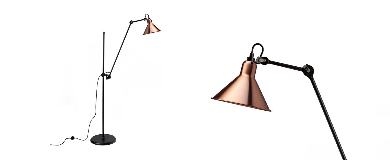 Lampadaire lampe gras n 215 cuivre interieur cuivre l32cm h150cm dcw editions paris normal