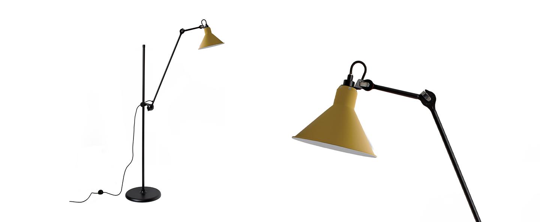 Lampadaire lampe gras n 215 jaune interieur blanc l32cm h150cm dcw editions paris normal