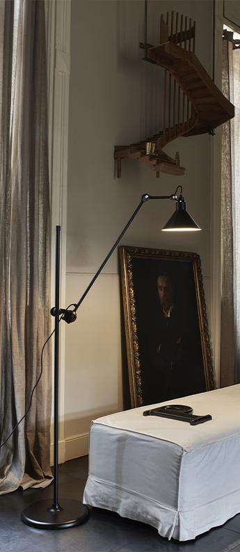 Lampadaire lampe gras n 215 noir interieur blanc l32cm h150cm dcw editions paris normal