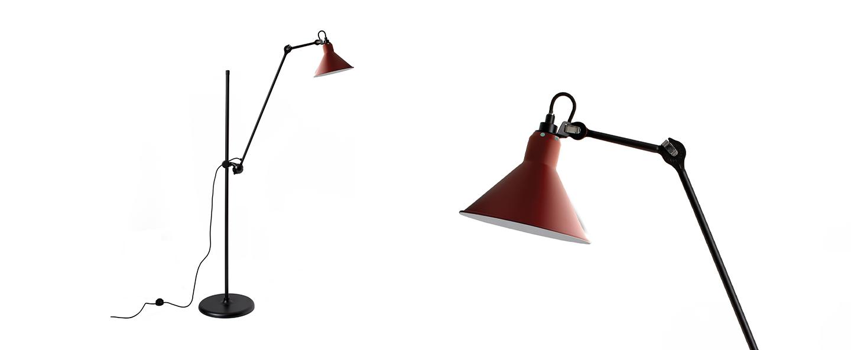 Lampadaire lampe gras n 215 rouge interieur blanc l32cm h150cm dcw editions paris normal