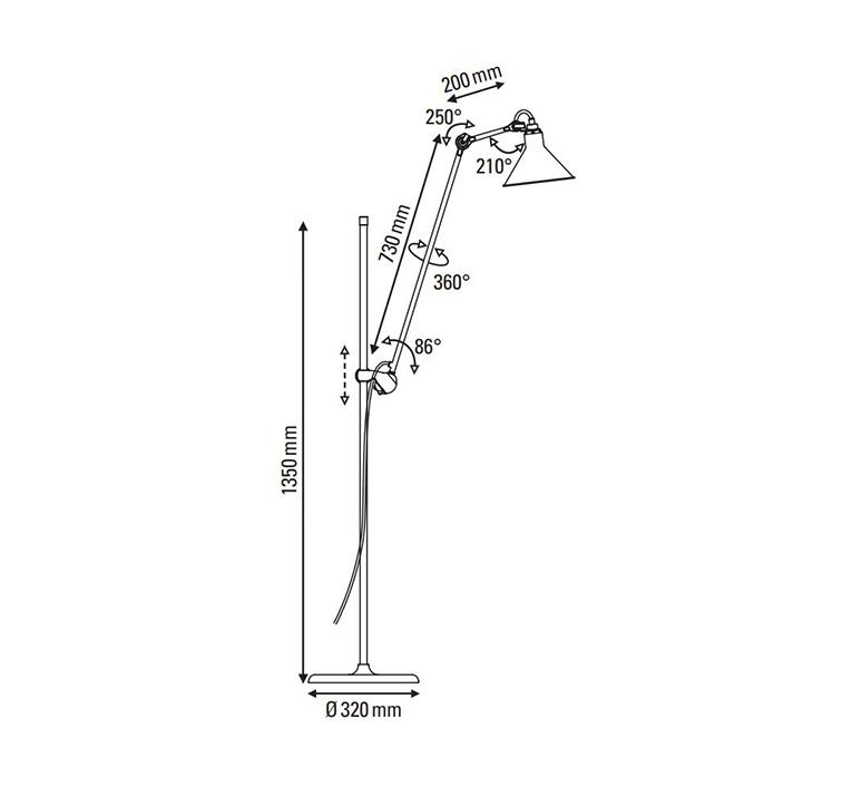 Lampe gras n 215 bernard albin gras lampadaire floor light  dcw n 215 bl red conic  design signed nedgis 105812 product