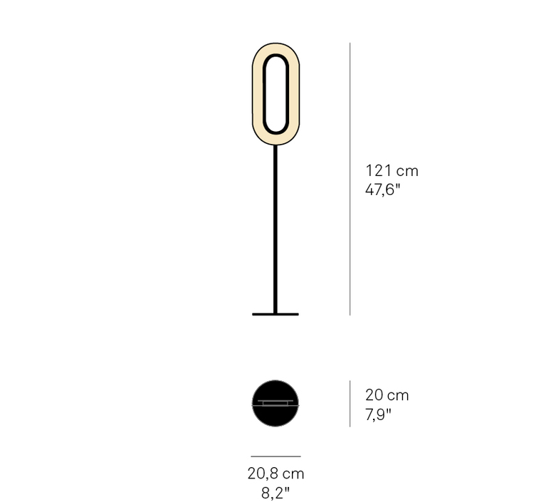 Lens oval mut design lampadaire floor light  lzf lens ov p bk led 22  design signed nedgis 76801 product