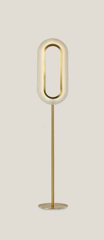 Lampadaire lens oval ivoire metal finition or led 1800k a 3000k 1930lm l20 8cm h121cm lzf normal