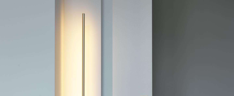 Lampadaire link laiton satine led 2700k 1200lm l10 4cm h150cm cvl normal
