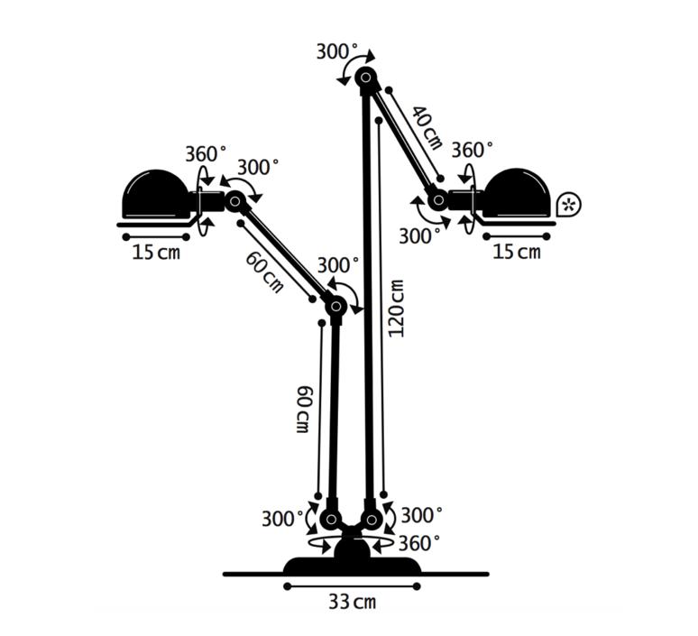 Loft 2 bras jumele jean louis domecq lampadaire floor light  jielde dd7460 ral9011  design signed 35943 product