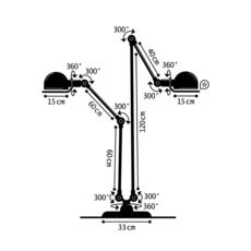 Loft 2 bras jumele jean louis domecq lampadaire floor light  jielde dd7460 ral9011  design signed 35943 thumb