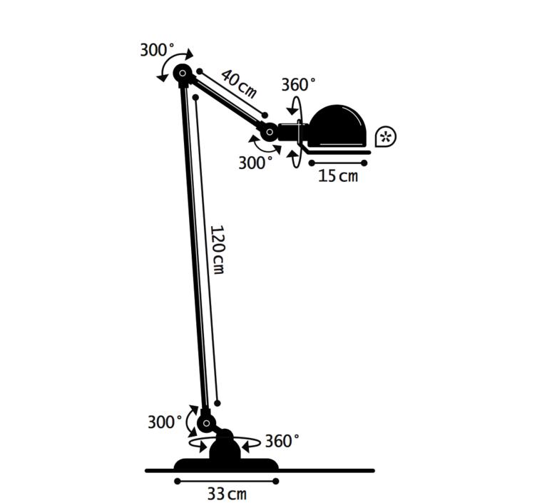 Loft 2 bras jean louis domecq lampadaire floor light  jielde d1240 ral9011  design signed 36017 product