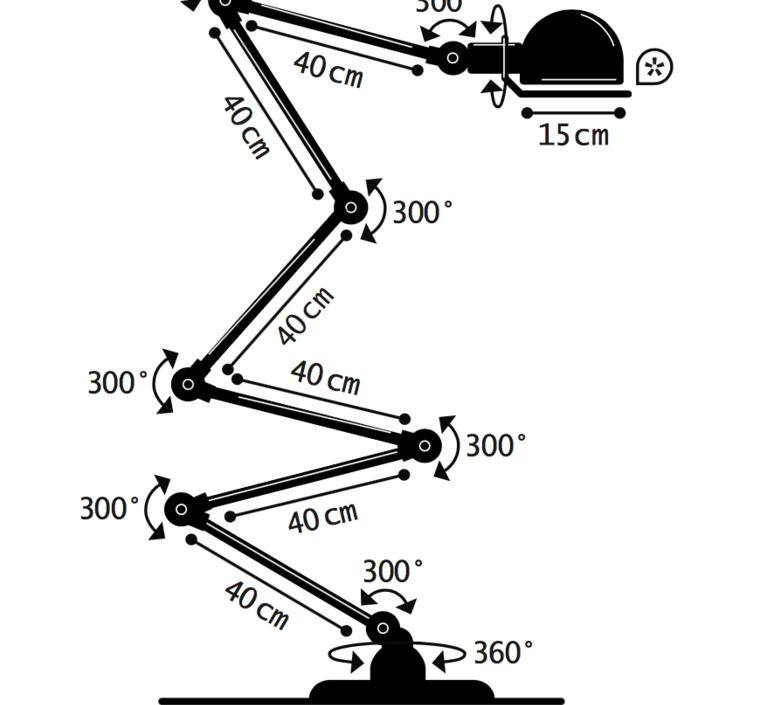 Loft 6 bras jean louis domecq lampadaire floor light  jielde d9406 ral1003  design signed 35938 product