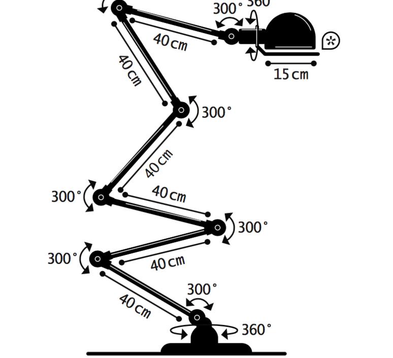 Loft 6 bras jean louis domecq lampadaire floor light  jielde d9406 ral2004  design signed 36002 product