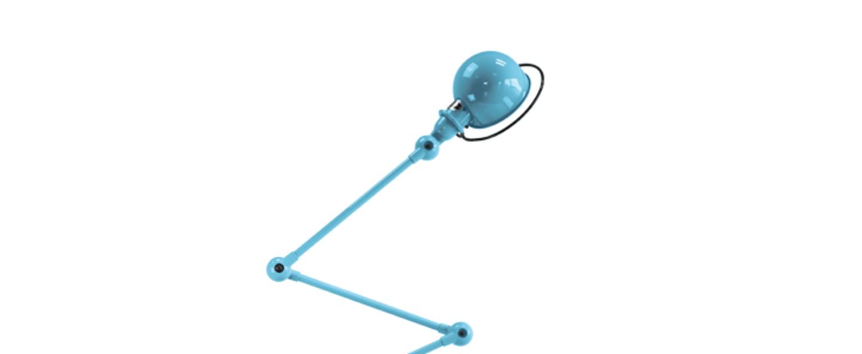 Lampadaire loft bleu pastel l240cm h150cm jielde normal