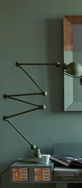 Lampadaire loft vert olive mat l240cm h150cm jielde normal