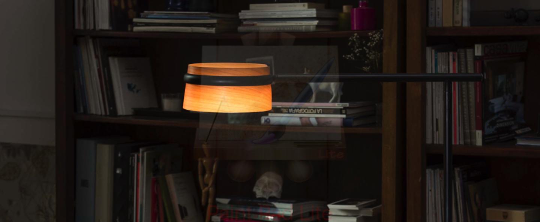 Lampadaire loop bois noir led l65cm h125cm faro normal