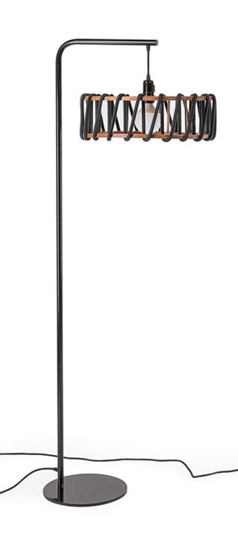 Lampadaire macaron l noir et noir noir l45cm h163cm emko normal