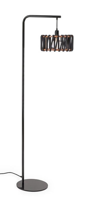 Lampadaire macaron s noir et noir noir l30cm h163cm emko normal