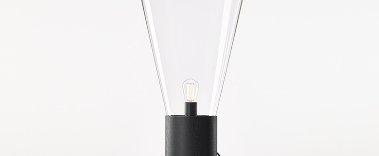 Lampadaire muffins noir verre transparent h101 6cm o43 5cm brokis normal