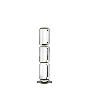 Lampadaire noctambules floor 3 cylindres bas petite base transparent et noir led 2700k 3960lm o39cm h140cm flos normal