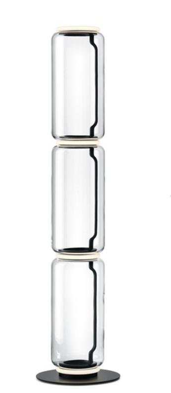 Lampadaire noctambules floor 3 cylindres hauts petite base transparent et noir led 2700k 3960lm o39cm h164cm flos normal