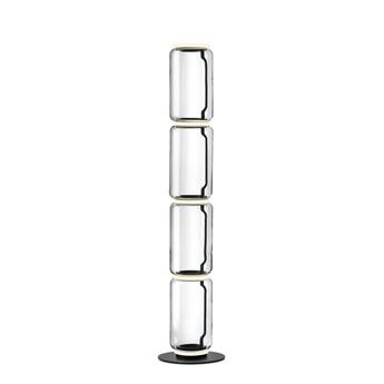 Lampadaire noctambules floor 4 cylindres bas petite base transparent et noir led 2700k 4950lm o39cm h185cm flos normal