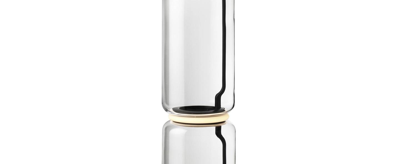 Lampadaire noctambules floor 4 cylindres hauts grande base transparent et noir led 2700k 4950lm o55cm h217cm flos normal