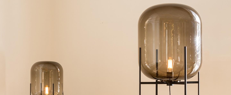 Lampadaire oda big verre fume gris h140cm normal