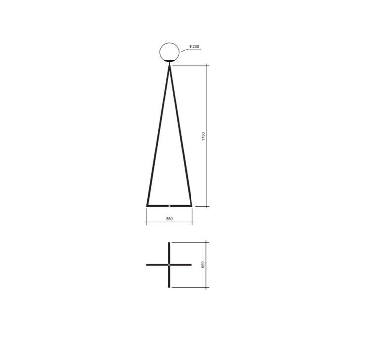 One globe cross base gwendolyn et guillane kerschbaumer lampadaire floor light  atelier areti one globe floor black cross based  design signed 56513 product