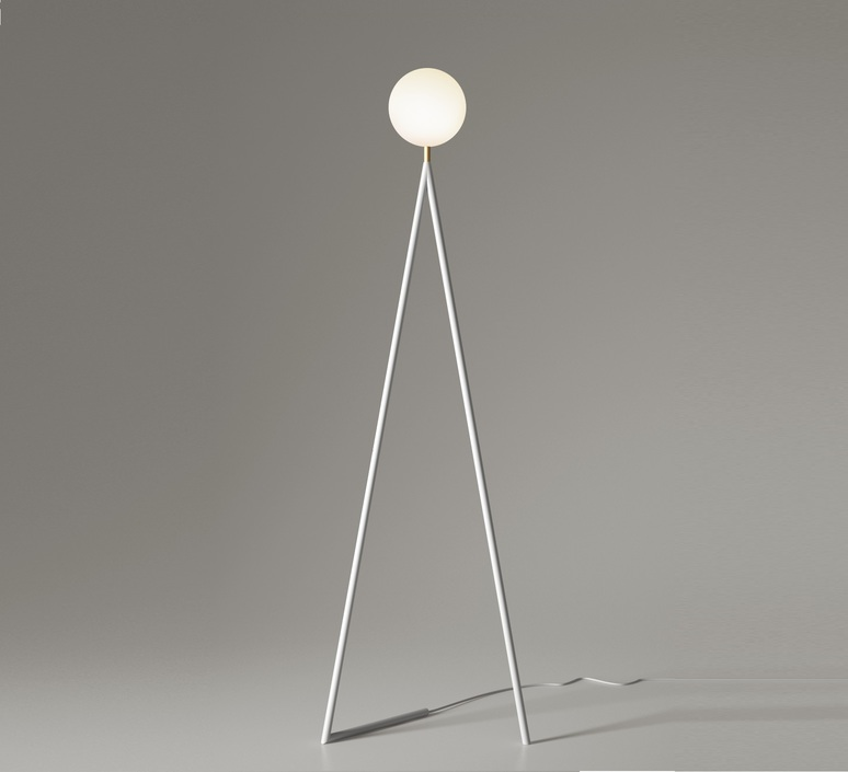 One globe slanted base gwendolyn et guillane kerschbaumer lampadaire floor light  atelier areti one globe floor white slanted based  design signed 56519 product