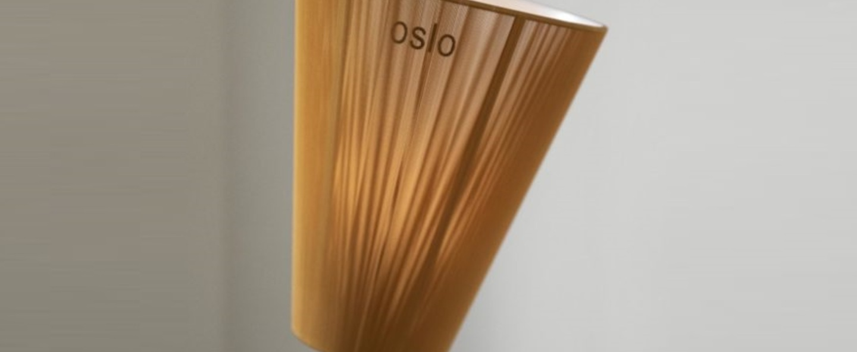 Lampadaire oslo wood pied beige abat jour tissu caramel h165cm northern normal