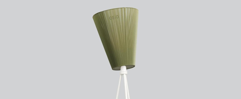 Lampadaire oslo wood pied noir abat jour vert olive h165cm northern normal