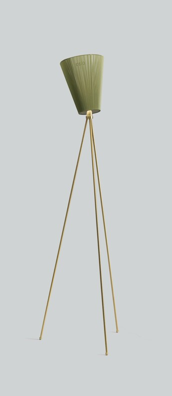 Lampadaire oslo wood pied or abat jour vert olive h165cm northern normal