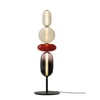 Lampadaire pebbles 03 transparent noir rouge o40 55cm h132 6cm bomma normal