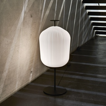 Lampadaire plissee noir et blanc o40cm h92cm classicon normal