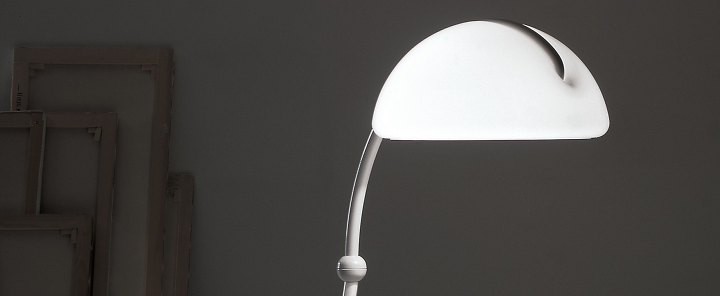 Lampadaire serpente blanc h120cm martinelli luce normal