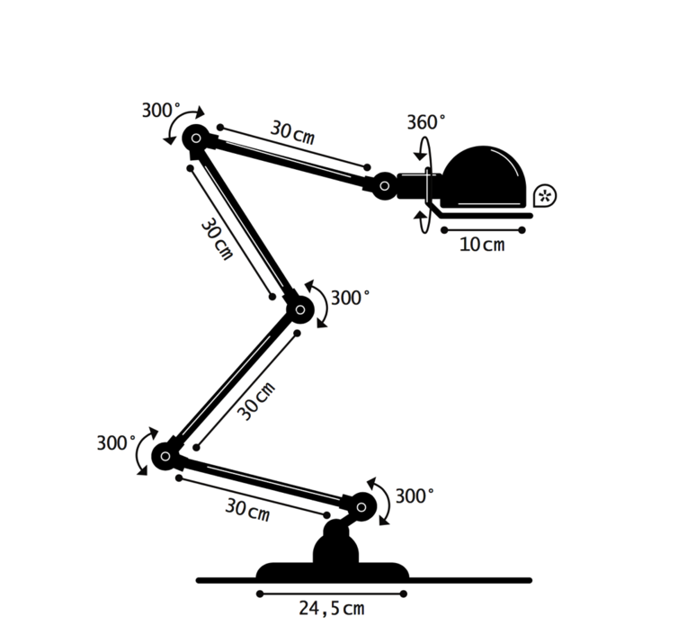 Signal 4 bras jean louis domecq lampadaire floor light  jielde si433 blc  design signed 35706 product