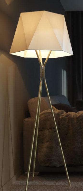 Lampadaire solitaire xl blanc et laiton l57 5cm h185cm cvl normal