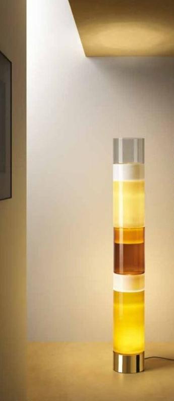 Lampadaire stacking c tr gris fume blanc ambre et tabac o23cm h163cm leucos normal