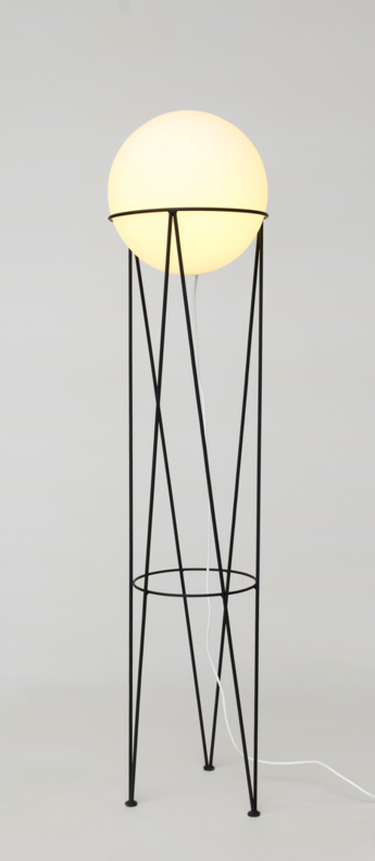 Lampadaire structure and globe noir o40cm h130cm atelier areti normal