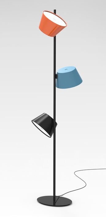 Lampadaire tam tam p3 bleu orange noir h160cm marset normal