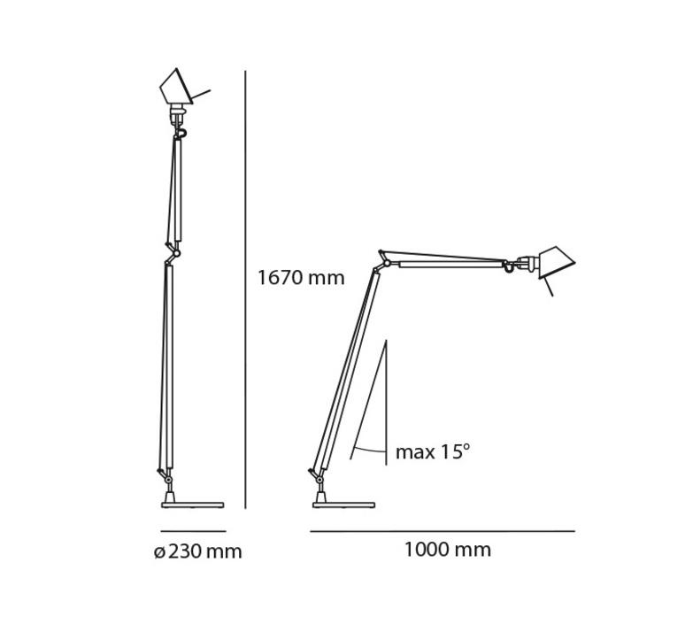 Tolomeo reading floor led michele de lucchi lampadaire floor light  artemide a013100 a014900  design signed 33802 product